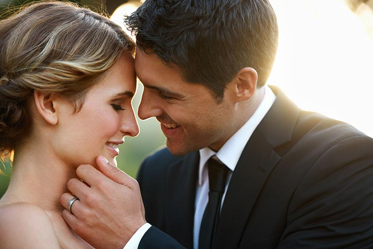 Intimate close-up of a wedding couple.