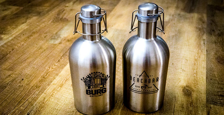 Laser-marked stainless steel growlers