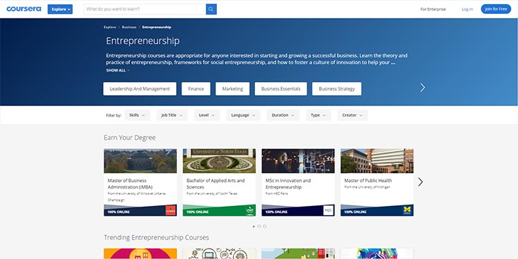Coursera Entrepreneurship category page