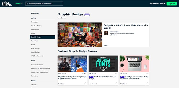 Skill Share Graphic Design category page