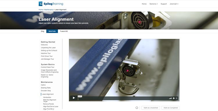 Epilog Laser Training Suite home page
