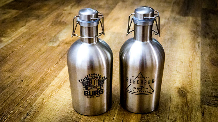 Stainless steel growlers marked with CerMark