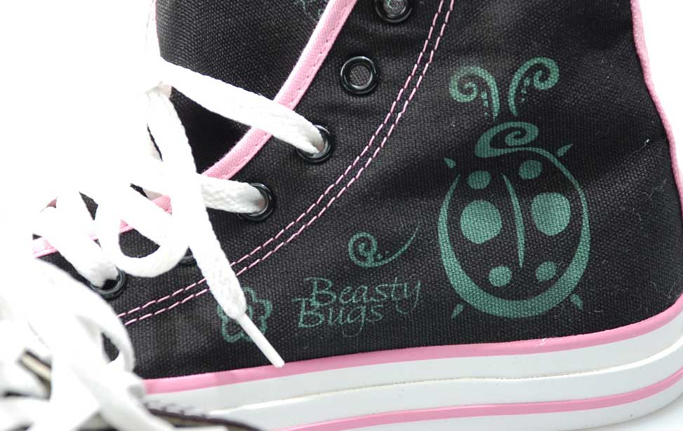 Graphic engraved on a canvas shoe