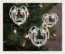 Wood ornaments cut with a laser.