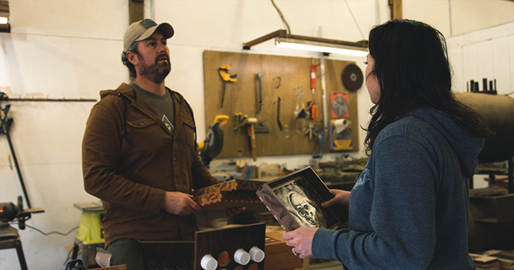 Mike and Jen Montgomery in their workshop