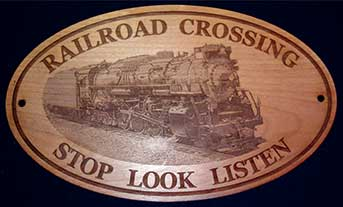 train wooden sign