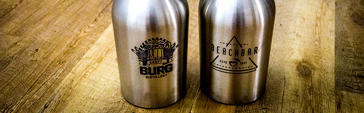 Completed Laser Marked Stainless Steel Growlers