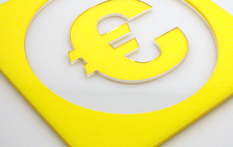 Euro symbol clear and yellow acrylic inlay signage