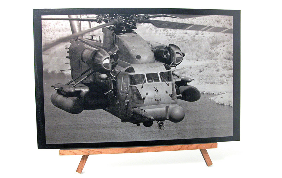 Laser Engraved Anodized Aluminum Helicopter Photo
