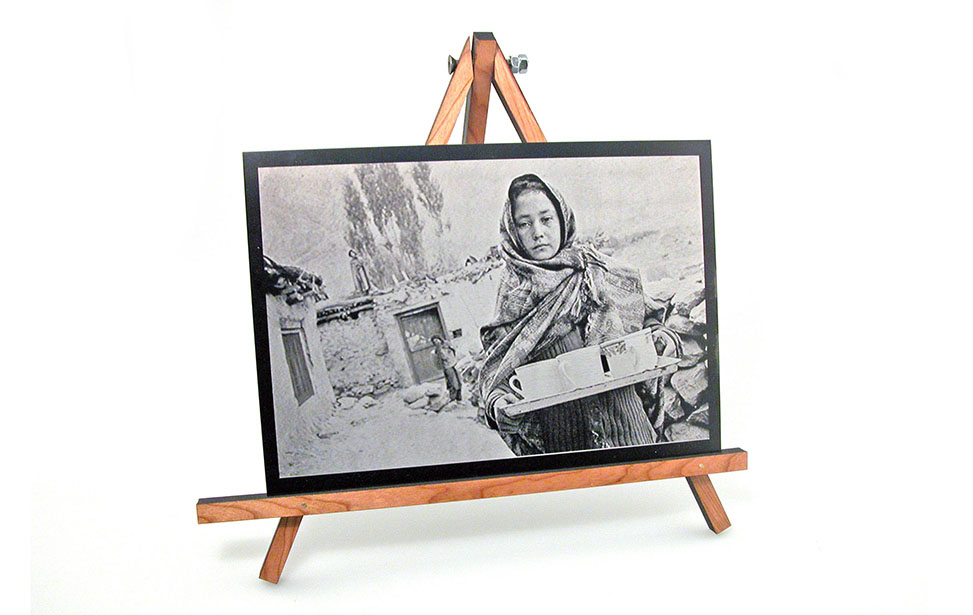 Laser Engraved Photo of a Woman on Anodized Aluminum