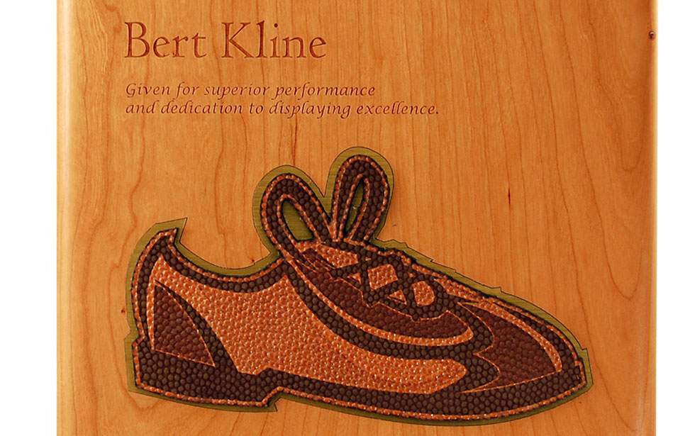 Laser Engraved Wood & Leather Award