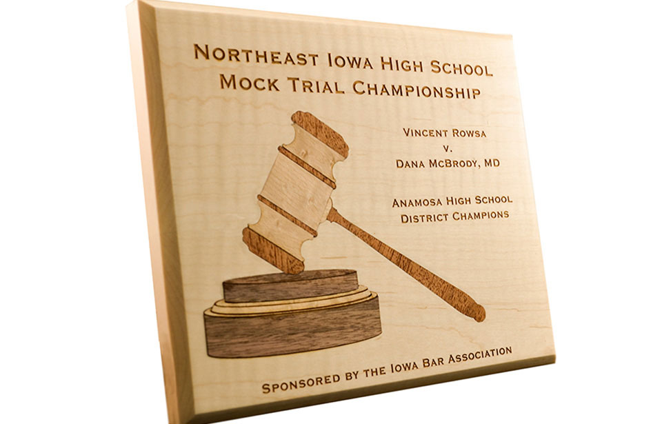 Mock Trial Wood Inlay Award