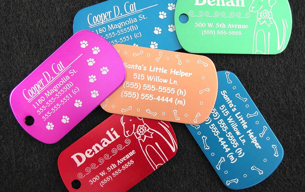 Anodized engraving on dog tags of assorted colors