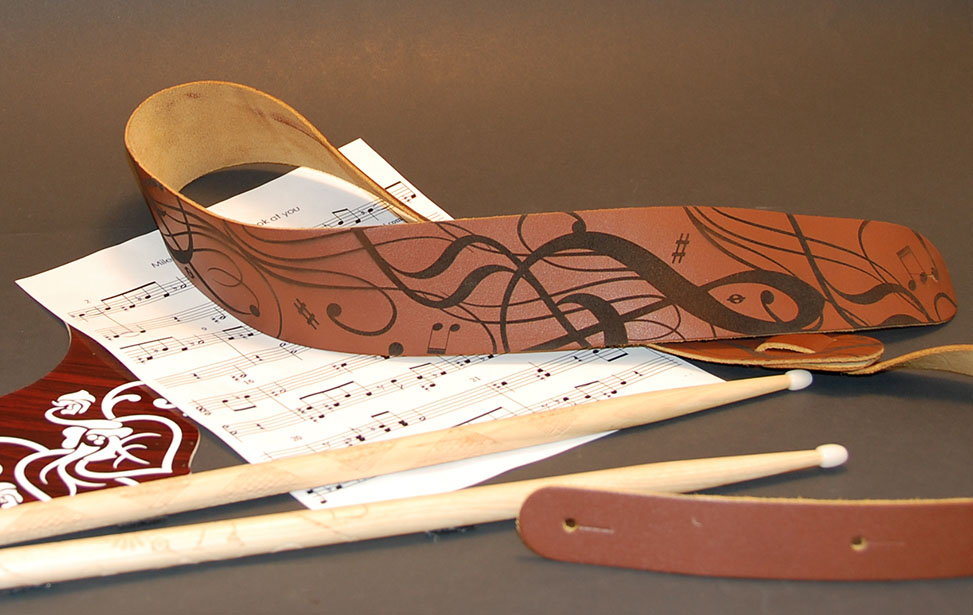 Laser Engraved Leather Guitar Strap