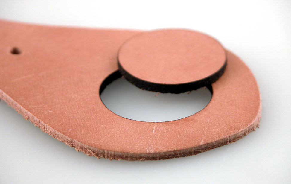 Hole Cut out of Leather with a Laser