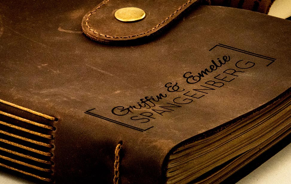 Close-up of laser engraved leather journal