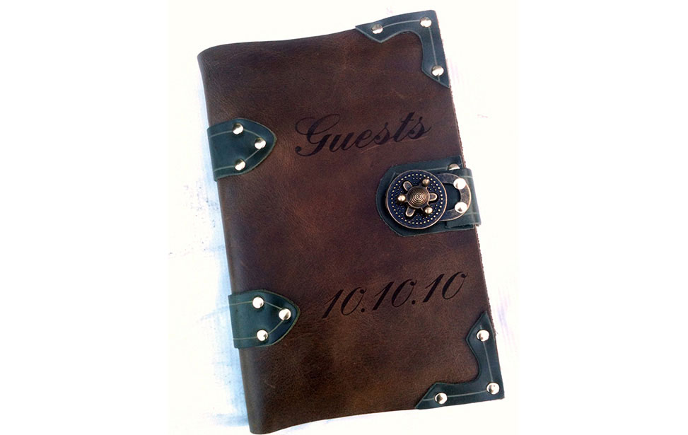 Laser Engraved Leather Guestbook