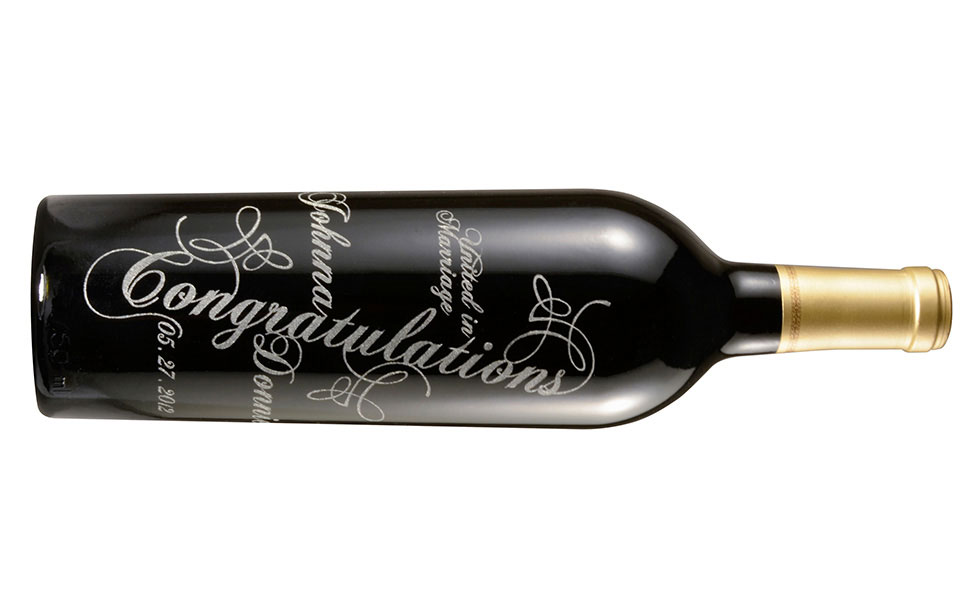 Wine Bottle Engraved with Laser