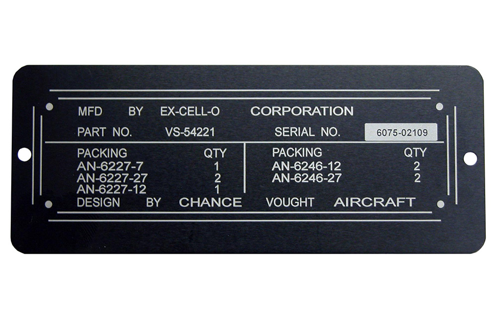 Anodized aluminum label plate with part serial number and information