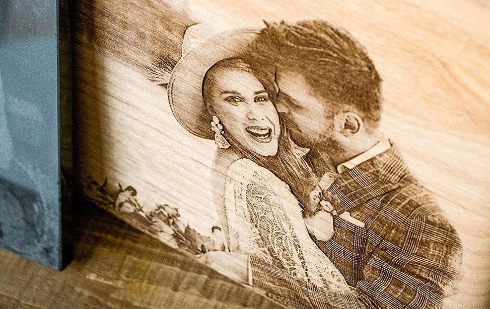Laser Engraved Wedding Photo Closeup