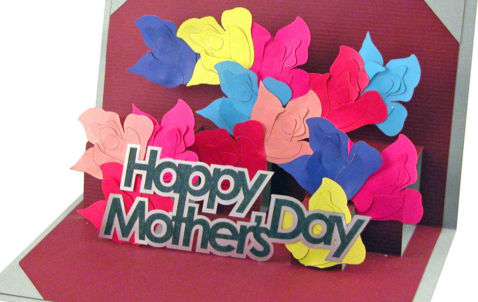 Paper Pop-Out Mothers Day Card Cut with Laser