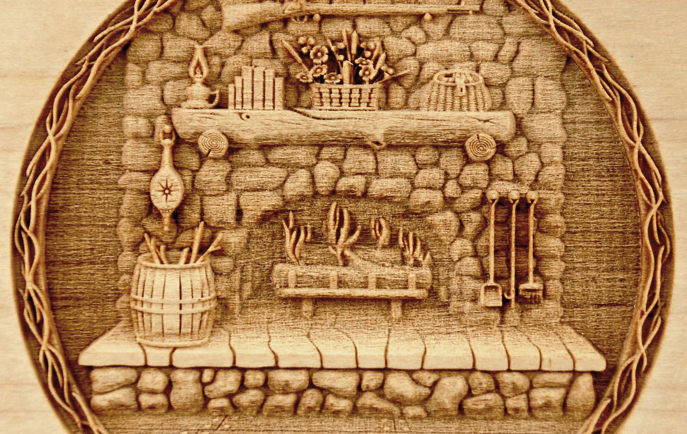 3D Engraved Fire Place on Wood