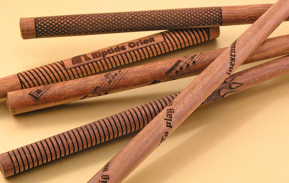Laser Engraved Drumsticks with Rotary Attachment
