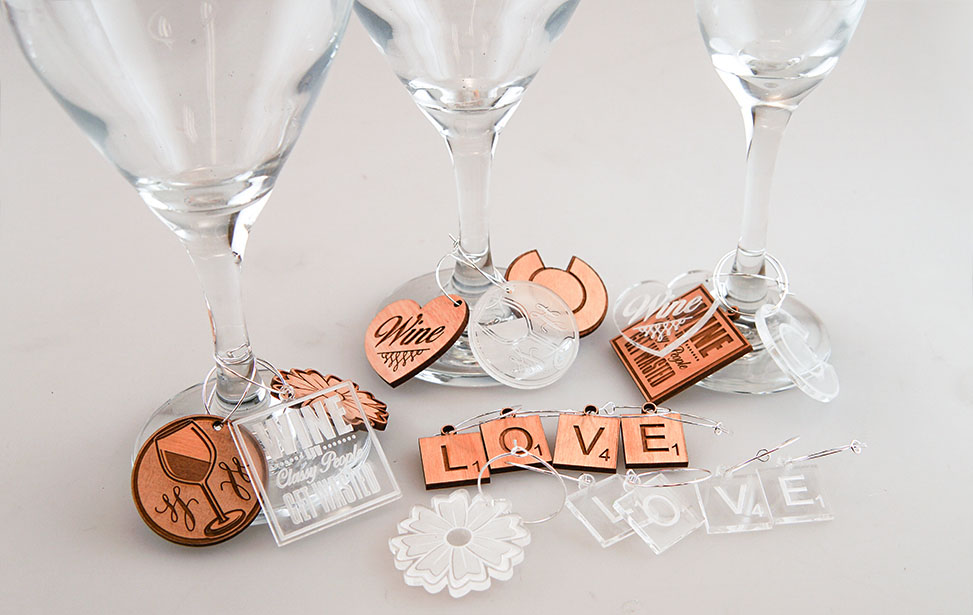 Laser Engraved and Cut Wine Charms