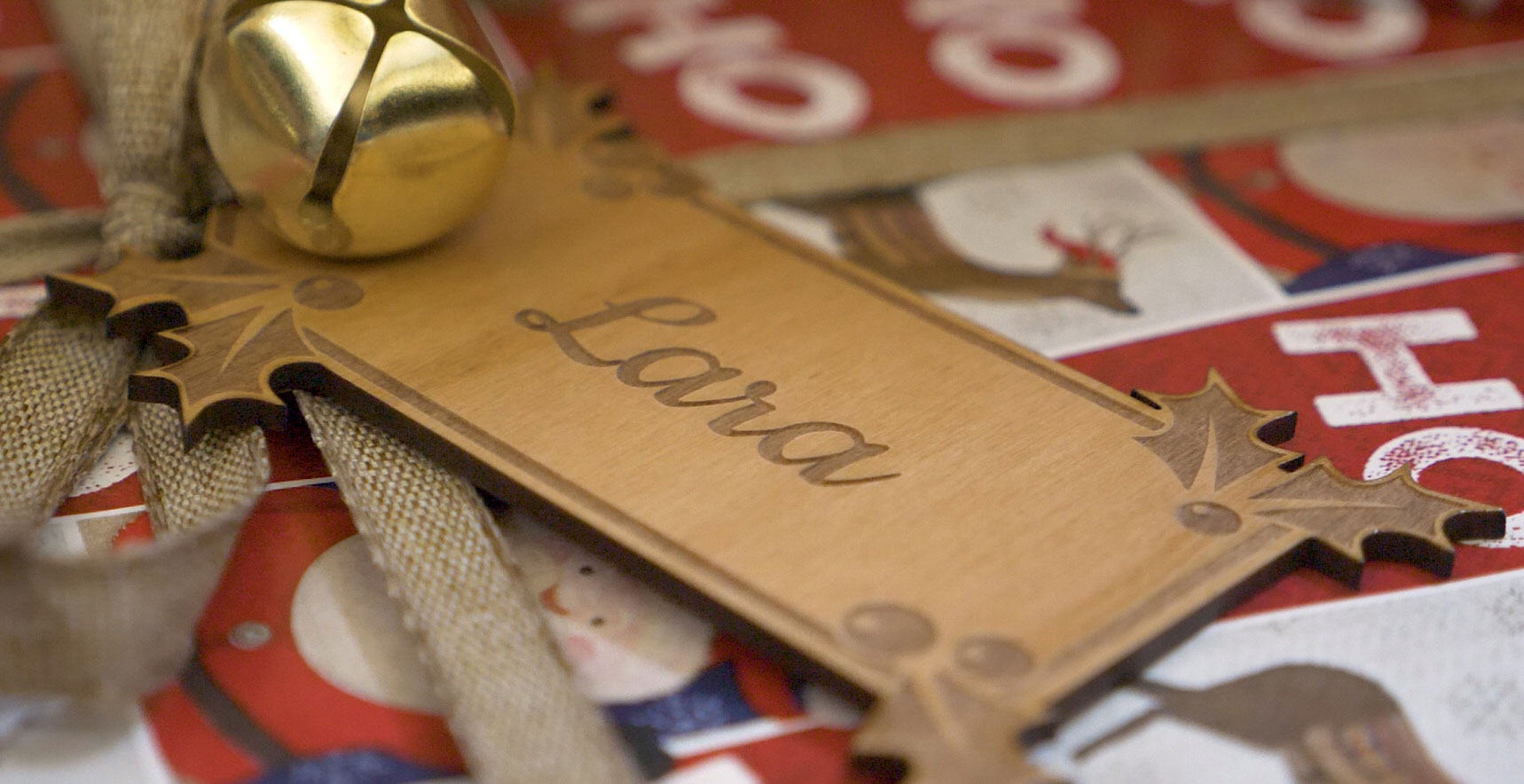 laser engraved wooden holiday gift tags