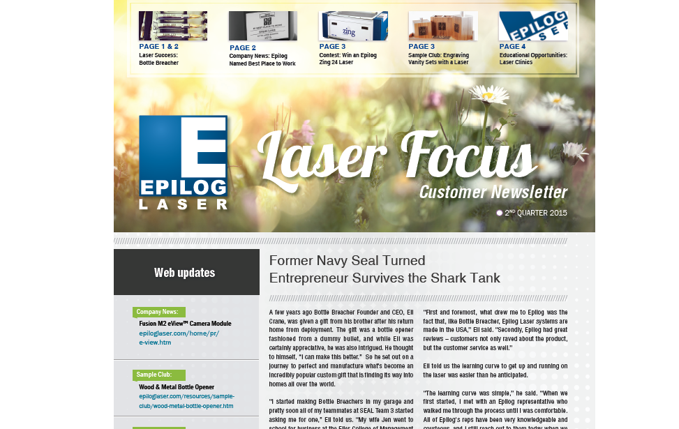 2nd quarter Epilog Laser Newsletter
