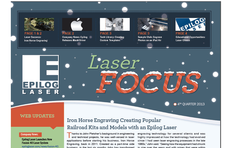 4th Quarter 2013 Epilog Laser Newsletter