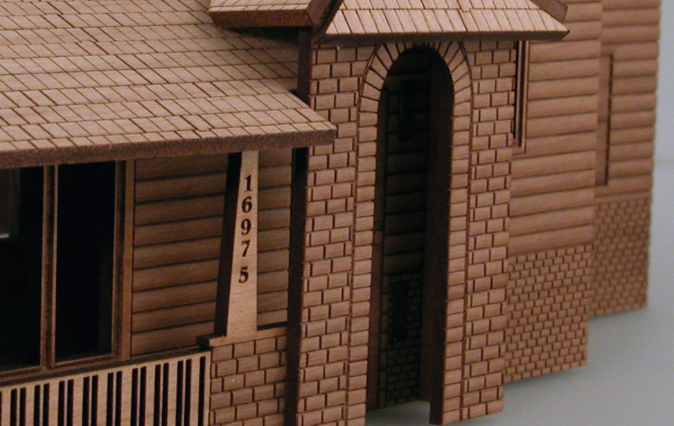 close up of the architectural model engraving