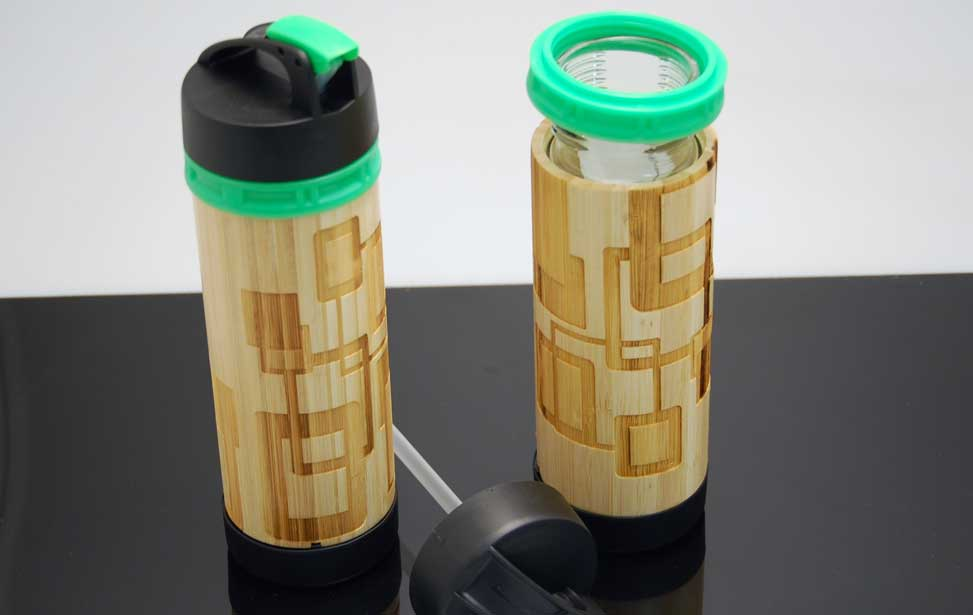 Laser etched bamboo water bottle.