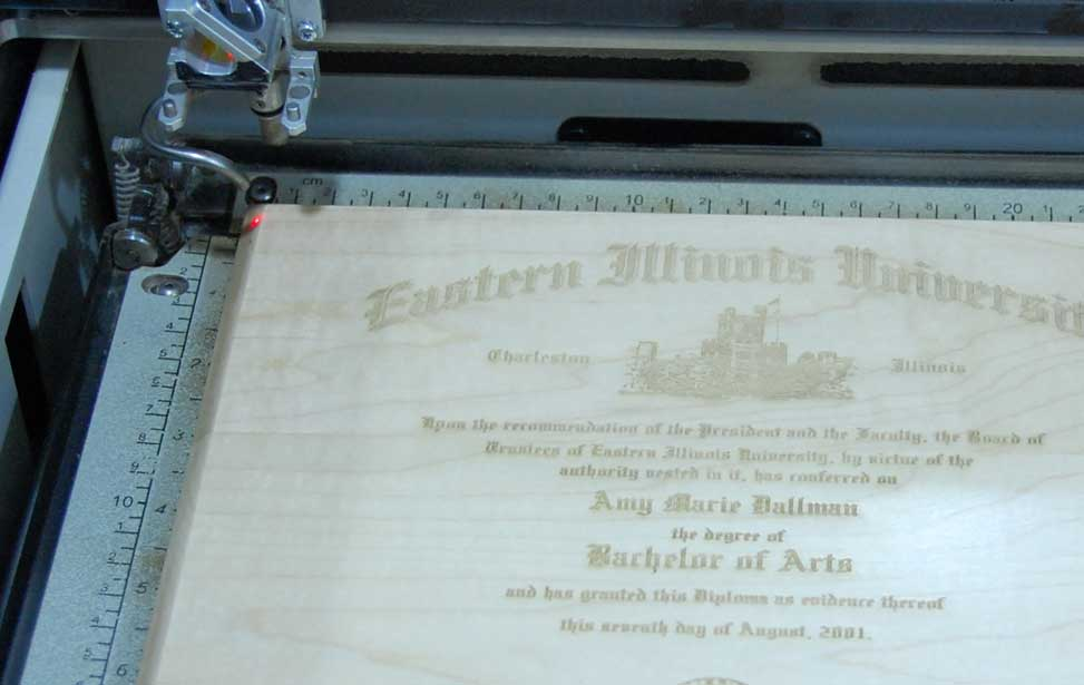 The final engraved diploma in the laser.