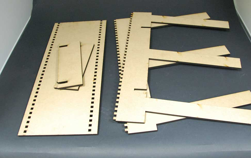 Laser cut finished pieces.