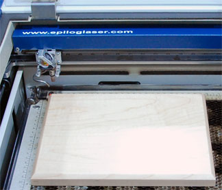 Plaque in the laser ready for engraving.