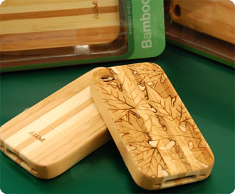 Laser etched wood iphone case.