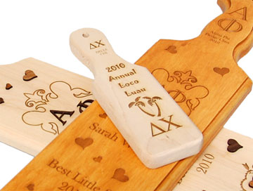 Laser engraved greek paddles