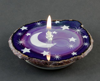 Agate candle engraving.
