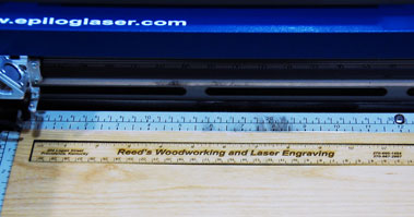 Laser engraved and cut ruler in the laser.