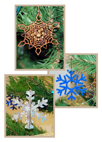 Snowflake laser cut ornaments.