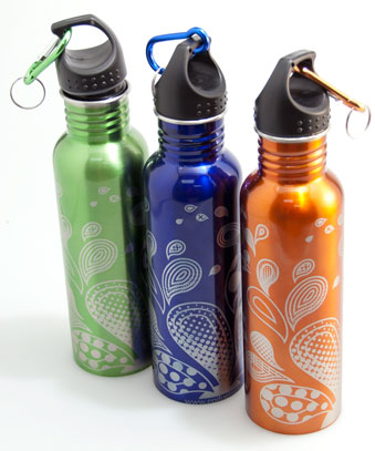 engraving a water bottle.
