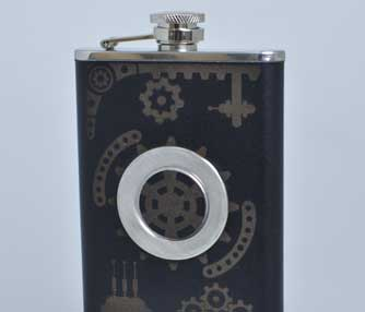Laser engraved leather flask.