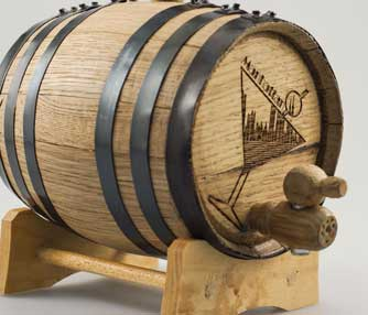 Laser engraved whisky barrel.