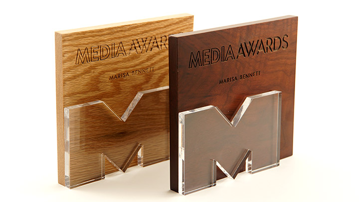 Acrylic and wood awards made with a laser