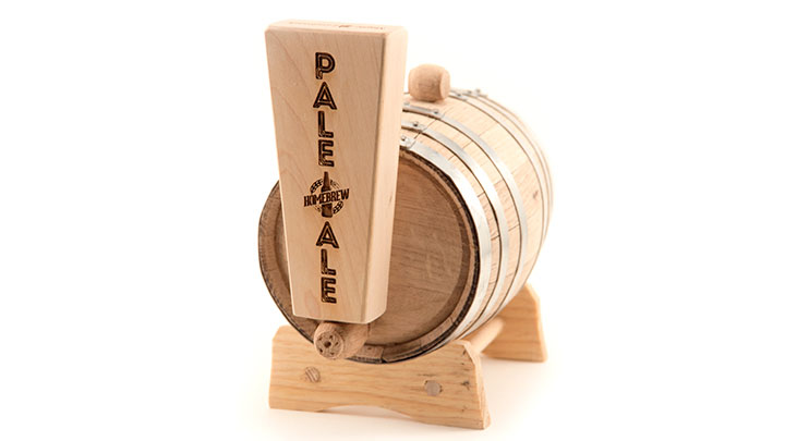laser engraved beer tap handle and barrel