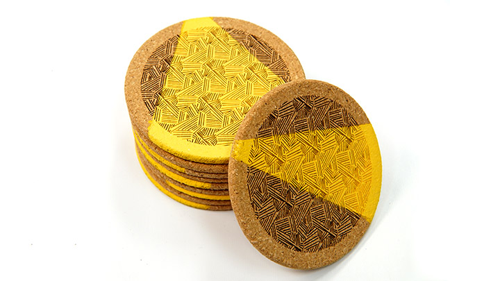stack of laser engraved cork coasters