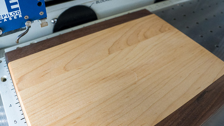 cutting boards placed in the laser system