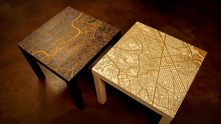 Custom laser engraved end tables