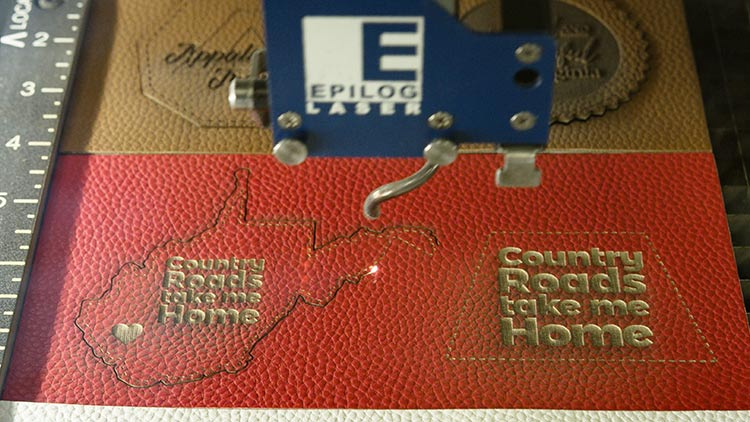 laser engraving leather hat patches in machine